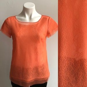 Ann Taylor Coral Chantilly Lace Top